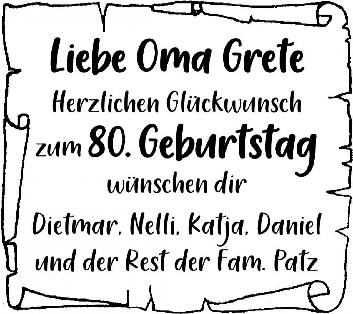 Geburtstag glückwünsche oma 80 Glückwünsche 80.